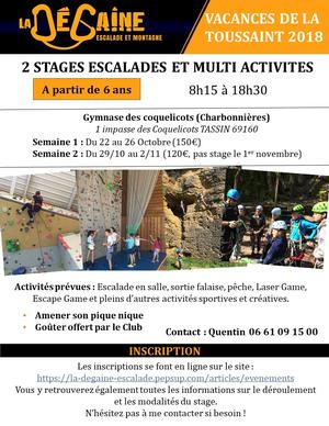 Stage semaine 2 Toussaint 2018