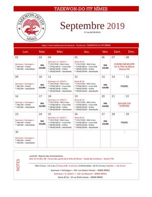 INFO/PLANNING - SEPTEMBRE 2019 -