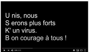 Video de soutien pendant le confinement
