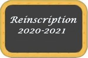 Réinscription 2020 - 2021