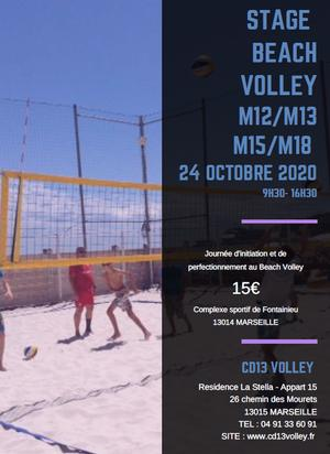 Stage Beach Volley le 24/10/2020 pour les M12 à M18