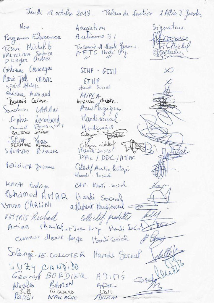 Liste des personnes et organisations du cIAH présentes à la conférence de presse et signatures