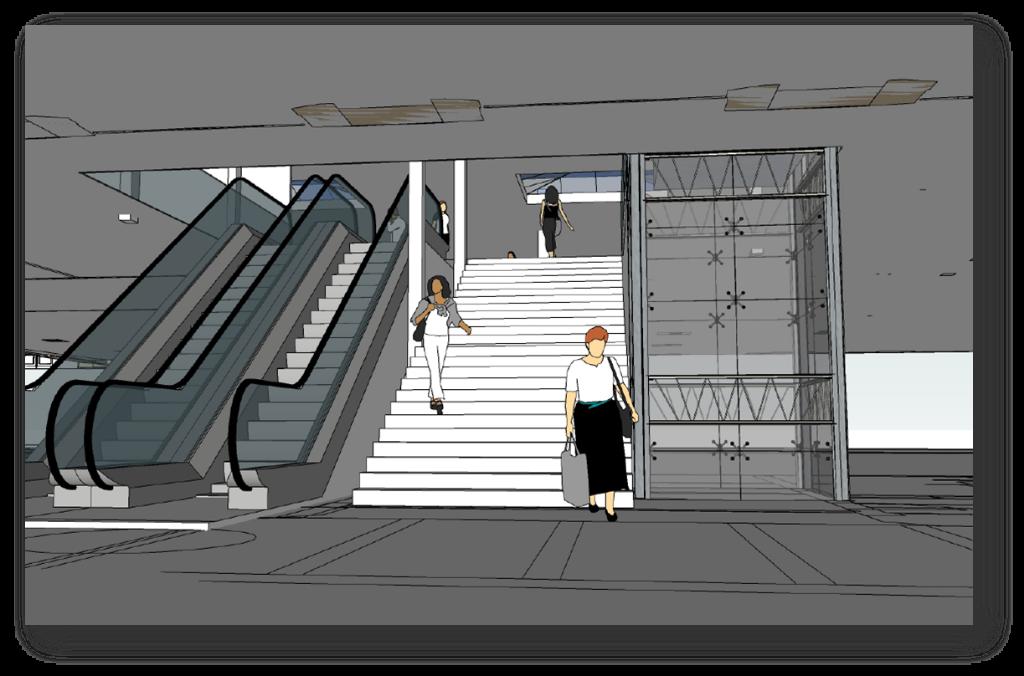Dessin de l'accès aux nouveaux quais tels que prévu pour 2024 (sachant que nous avons demandé qu'il y ait 2 ascenseurs pour être sûr d'en avoir toujours un en fonctionnement)