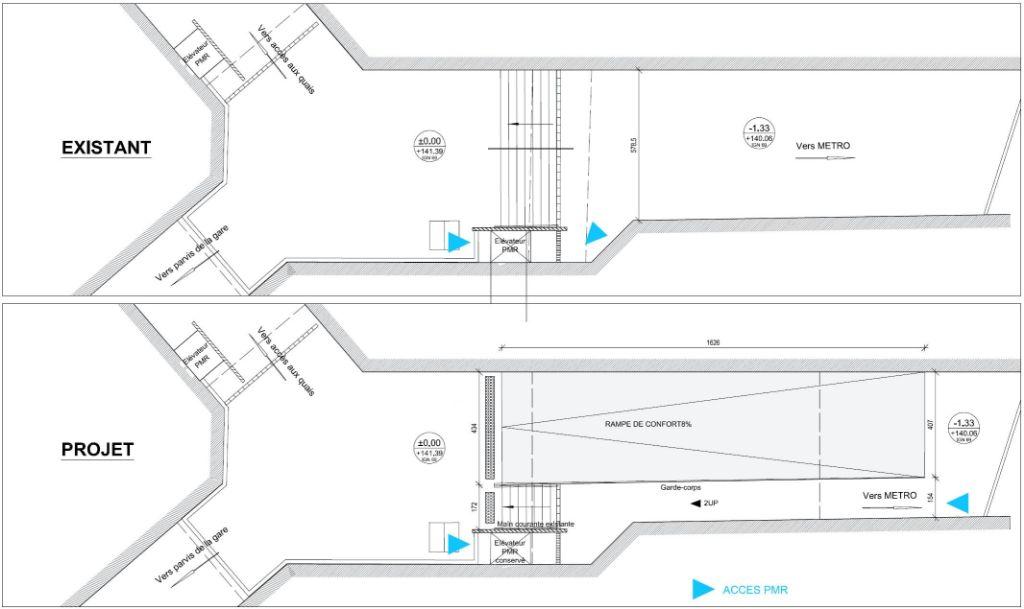 Dessin du plan incliné qui fera la jpnction entre la gare Matabiau et le métro : travaux prévu été 2019