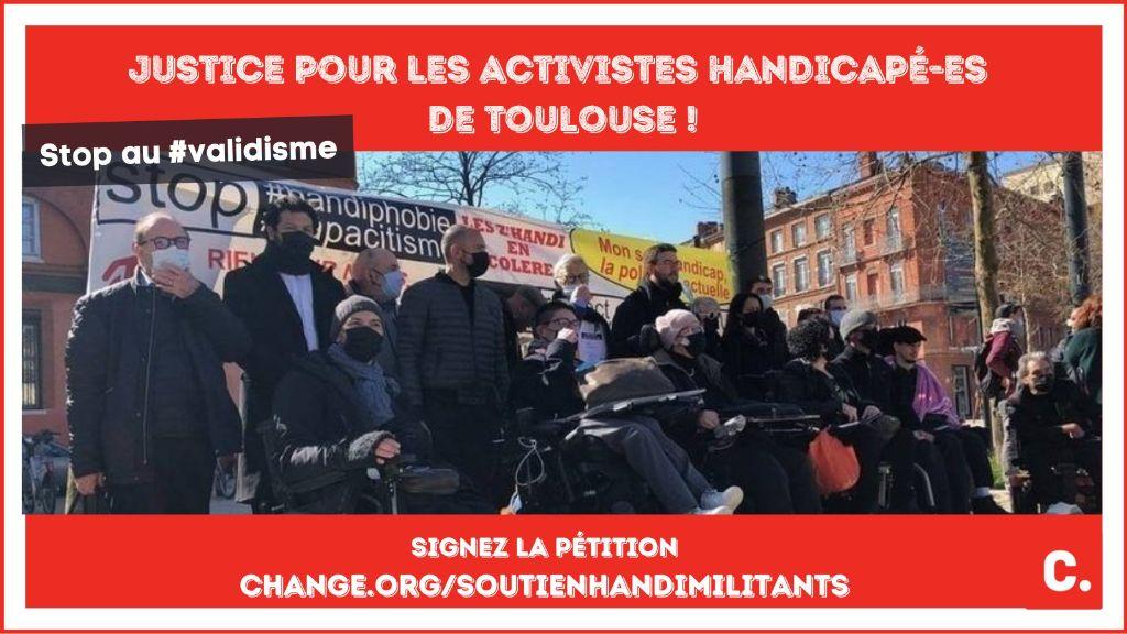 image illustrant la pétition stop au validisme justice pour les militants handicapés