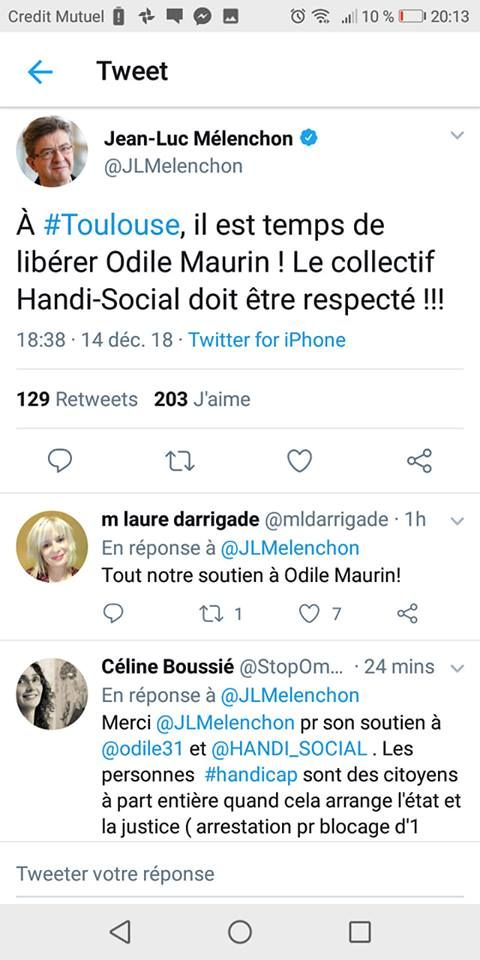 tweet de Jean-Luc Melenchon réclamant notre libération après notre rentenue par la gendarmerie