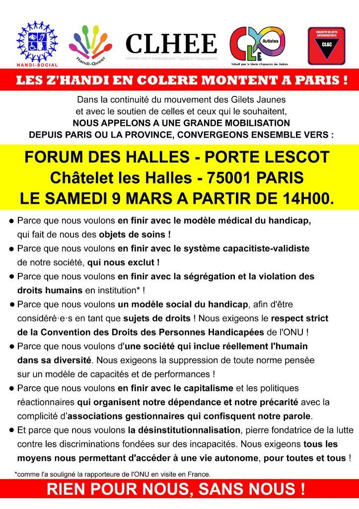 appel des z'handi En colère 9 mars 19 à Paris - Handi-social - CLHEE - CLAC - Handi-Queer - CLE Autistes