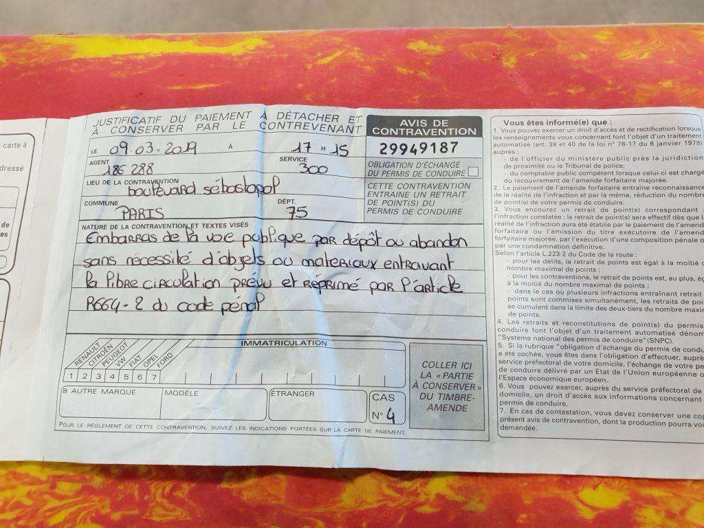 PV remis à Odile 9 mars lui reprochant un embarras de la voie publique avec son fauteuil roulant !